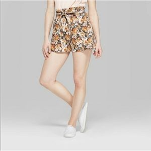 Wild Fable Paperbag Tie Waist Floral Shorts, Med